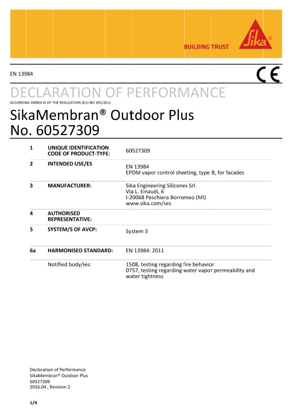 DOP - SikaMembran® Outdoor Plus