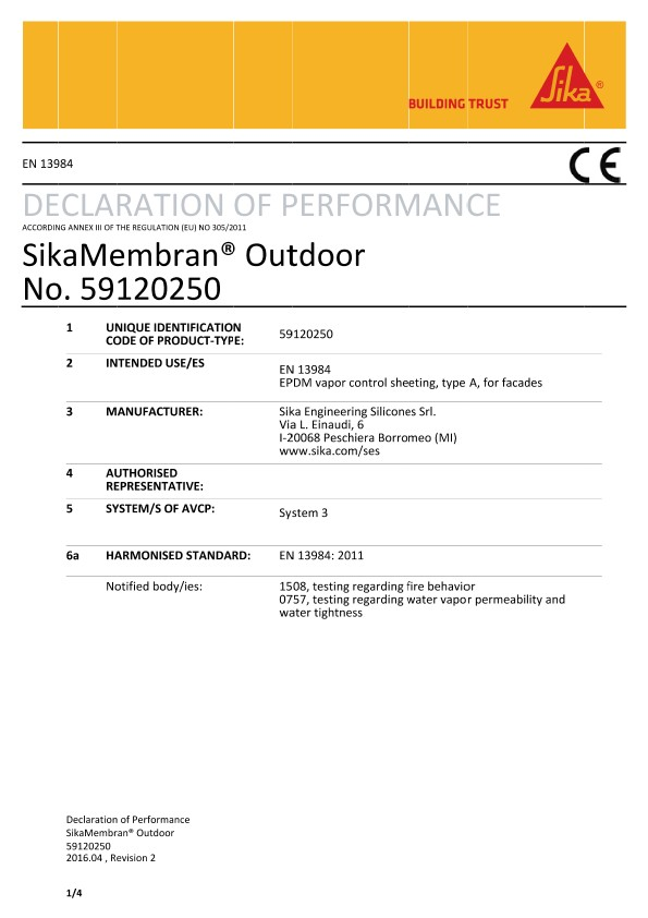 DOP - SikaMembran® Outdoor
