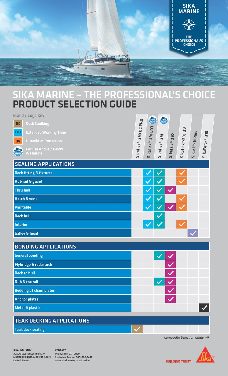 Sika Marine - the Professional's Choice - Product Selection Guide
